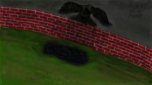 """Cover zum Gedicht """"Krählein auf der Mauer"""""""